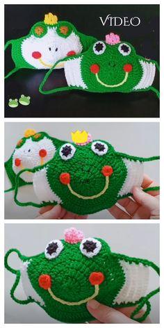 Minion and Frog Mask Crochet Patterns + Video - DIY Magazine and knitting knit knitting crochet diy Crochet Mask, Crochet Diy, Crochet Faces, Crochet Patterns Amigurumi, Mandala Crochet, Crochet Hooks, Minion Crochet Patterns, Crochet Pattern Free, Sewing Patterns Free
