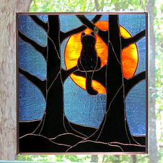 Stained Glass Black Cat Full Hunter's Moon Hanging Panel