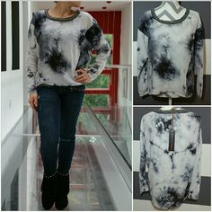 """Tie dye high low top Brand new with tags.  On trend for 2016, tie dye is all over the runways!! This top features long sleeves, threading and chain details around the neckline, semi loose fit and popular high-low cut.  Grays and black. Material 100% VISCOSE Length in front is approx 22"""" Length is back is approx 26""""  (All tie dye print will vary with each shirt) *Modeled in a size small *  No trades Price is firm unless bundled Tops Blouses"""