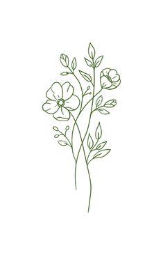 Dainty Tattoos, Cute Tattoos, Small Tattoos, Tatoos, Simple Flower Tattoo, Simple Flowers, Flower Outline Tattoo, Flower Bouquet Drawing, Simple Flower Drawing