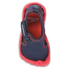 Speedo Toddler Hybrid Water Shoes (Small 5-6 toddler, Navy/Red). Breathable mesh upper. Strap closure. Non-marking outsole & Removable sockliner. Perfect for beach, lake or pool. Size: S=5/6, M=7/8, L=9/10, XL=11/12.