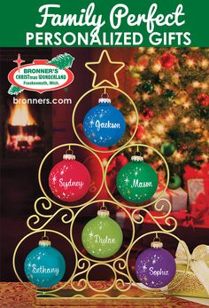 Personalized gifts for the whole family! Did you know that Bronner's has a team of professional artists who produce the finest personalized ornaments available? Gift the gift of personality this Christmas with a personalized ornament Personalized Christmas Gifts, Personalized Ornaments, Babies First Christmas, 1st Christmas, Glass Ornaments, Christmas Tree Ornaments, Christmas Sentiments, Christmas Wonderland, Personality