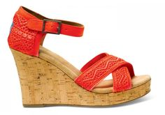 TOMS strappy #crochet wedge sandals