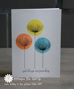 Inspiration~ three different color circle stickers or quick circle wash of water color; add stem and sprigs with finest black marker Hand Made Greeting Cards, Making Greeting Cards, Birthday Greeting Cards, Card Making Inspiration, Making Ideas, Birthday Cards For Brother, Handmade Birthday Cards, Tampons, Watercolor Cards