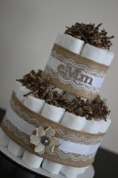 Mini 2 Tier Shabby Chic Diaper Cake Burlap by BabeeCakesBoutique