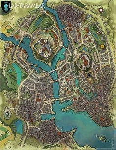 Map for RPG, DnD and Pathfinder inspiration. Fantasy City Map, Fantasy World Map, Fantasy Town, Fantasy Places, Plan Ville, Nave Star Wars, Imaginary Maps, Village Map, Rpg Map
