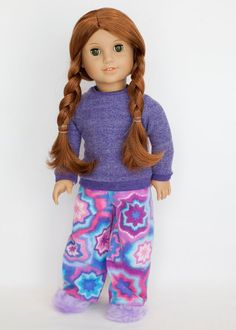 American Girl doll sized pajamas with slippers by EverydayDollwear