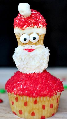 Festive Santa Christmas Cupcake Topper ~ fun and easy to create using Nutter Butter cookies!