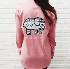 59944ff8c Fashion Elephant and Letter Print Pink Long Long Sleeve Shirts