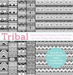 Black and White Tribal Digital Scrapbook Papers by @Julia Richey Pueblo. Use them as seamless #DigitalBackgrounds as well!