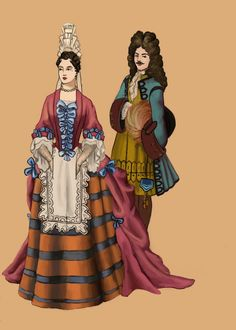 "1680 by Tadarida.deviantart.com on @deviantART - From the artist's comments: ""The mantua or manteau is a gown popular from 1680s to [Louis] XIV's death. Mantua was made from a single length of fabric, instead of a bodice and skirt cut seperately. It was pleated over a petticoat and a stomacher. Dress had a square neckline, covering the shoulders. A fontange is a headdress made of tiers of wired lace decorated by ribbons and lappets. It was popular from 1680 to around 1710 in France."""