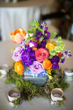colorful mossy + wooden centerpiece | Sunday Grant #wedding