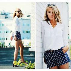 Petra Karlsson - Glasses, H&M Blouse, Zara Shorts - Rooftop Zara Shorts, Dress Up Outfits, Fall Outfits, Love Fashion, Spring Fashion, Fashion Ideas, Sporty Look, Dress Backs, Beautiful Outfits