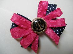 Dark Navy Blue white Swiss Polka Dot Anchors Aweigh Hot Pink Hair Bow Back to School Nautical. $4.25, via Etsy.