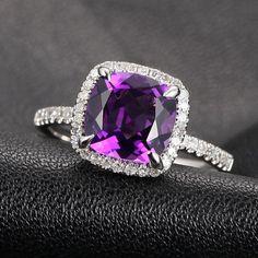 VS Cushion Amethyst Ring Claw Prongs Pave Diamonds 14K White Gold 8mm Wedding Ring, Anniversary Ring