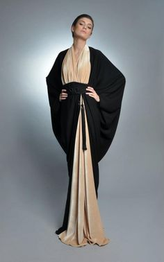 Trendy Abaya Fashion with PHOTOGRAPHS of Beautiful Gowns with Hijabs - Trendy, stylistic, fashionable and Beautiful collection of Abaya gowns, kaftan and hijabs for all the Muslim women out there who want to wear the hijab Islamic Fashion, Muslim Fashion, Modest Fashion, Fashion Dresses, Fashion Clothes, Abaya Style, Hijab Style, Black And White Outfit, Middle Eastern Fashion