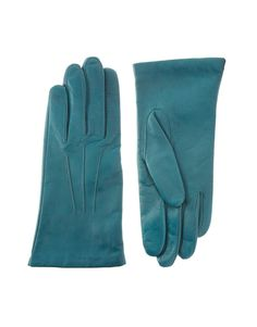 Teal leather gloves