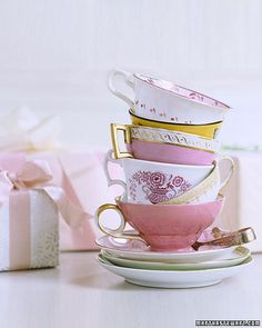 a bridal shower tea party is brilliant! have all the guests bring a vintage tea cup and saucer. Have A Nice Afternoon, Afternoon Tea, Afternoon Delight, Tea Party Bridal Shower, Bridal Showers, Martha Stewart Weddings, My Cup Of Tea, Brunch, Cup And Saucer Set