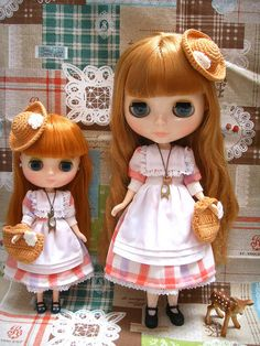 Twins sets - Girlish Country Summer Dress Set for Blythe and Middle Blythe. $59.20, via Etsy.