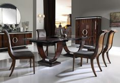 Wilshire dining room, from our Gallery collection. This new design has strong influences of Art Deco style, where the Pau Ferro veneers are the main character of these elegant pieces. Mariner Luxury Furniture