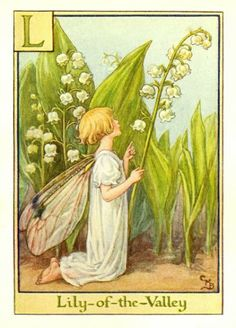 The image of the Lily of the Valley Flower Fairy is one of Cicely Mary Barker's Flower Fairies. First published in A Flower Fairy Alphabet, London, Blackie, Cicely Mary Barker, Lily Of The Valley Flowers, Vintage Fairies, Beautiful Fairies, Flower Fairies, Fairy Art, Faeries, Art Prints, Artwork