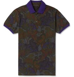 EtroPaisley-Print Cotton-Blend Polo Shirt