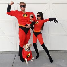 Incredibles Costume for the Family - Disney Halloween Costume Ideas for Families Costume Halloween Famille, Clown Halloween Kostüm, Baby First Halloween Costume, Couples Halloween, Cute Couple Halloween Costumes, Halloween Costume Contest, Halloween Outfits, Costume Ideas, Homemade Halloween