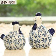 Accesorios para el hogar decoración rústica moderna decoración abstracta de cerámica azul y blanco de pollo de cuco(China (Mainland))