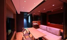 Small Home Smart Home by LAAB Architects takes a 309 square foot space in Hong Kong and transforms it into home with a large kitchen, gym, and cinema. Micro Apartment, Tiny Apartments, Home Automation System, Smart Home Automation, Condo, Large Baths, Take You Home, Home Cinemas, Big Houses