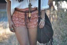 shorts cute summer outfits hot pink trendy bag fringed bag boho