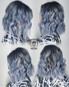 Chillin'!  Icy Blue Lob  with sexy tossed waves by @hairgod_zito hotonbeauty.com