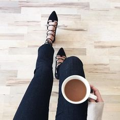 Monday vibes from Brittany Xavier in  Designer Jeans For Women, Lace Up Flats, Best Coffee, Sock Shoes, Style Guides, My Style, Gypsy Style, How To Wear, Minimal Chic