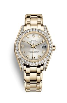 Discover the Pearlmaster 34 watch in 18 ct yellow gold with lugs set with diamonds on the Official Rolex Website. Rolex Day Date, Fossil Watches, Rolex Watches, Gold Rolex Women, Rolex Bracelet, Solid Gold Bracelet, Rolex Models, Expensive Watches, Rolex Oyster Perpetual