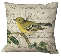 Yellow Bird on French Letter in Choice of inch Pillow Cover on Burlap or Linen Custom Printed Fabric, Printed Linen, Printing On Fabric, Burlap Pillows, Decorative Pillows, Couch Pillows, Fabric Envelope, Remodels And Restorations, Fabric Birds