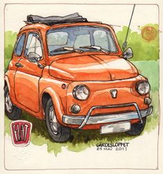 My Fiat Obsession! Fiat 500 Pop, Fiat 600, Copic Drawings, Car Drawings, Fiat Cinquecento, Fiat Cars, Dodge Chrysler, Cool Sketches, Urban Sketching