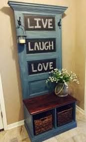 **We could do this behind the front door??** hall trees made from old doors - Google Search