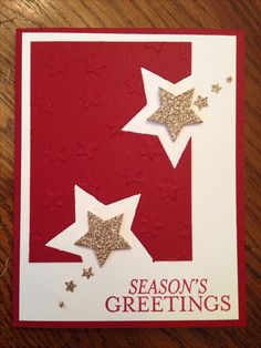 Stampin up star framelits and holiday star embossing folder. Bright and beautiful stamp set. Stampin up star framelits and holiday star embossing folder. Bright and beautiful stamp set. Homemade Christmas Cards, Christmas Cards To Make, Homemade Cards, Handmade Christmas, Holiday Cards, Christmas Crafts, Star Cards, Birthday Cards For Men, Male Birthday