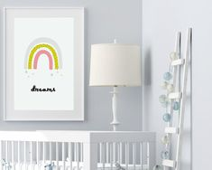 """Satrs and rainbow nursery art, nursery ideas from Sunny and Pretty. Adorable girls rainbow prints with """"Dreams"""" quote. Nursery prints to complete your nursery decor project. Our nursery wall art is made with love and is designed to reflect your nursery wall decor style and encourage your little one's imagination. 🖤 Get excited about decorating for your little one!Stars and rainbow printable wall art Modern nursery rainbow image 2 Space Themed Nursery, Baby Girl Nursery Decor, Nursery Wall Decor, Nursery Themes, Nursery Ideas, Nursery Artwork, Nursery Paintings, Kids Room Wall Art, Nursery Prints"""