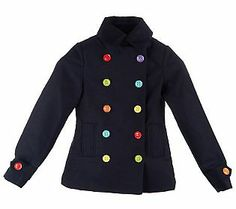 This little missmatched Peacoat is cute as a button! #QVCgifts