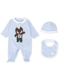 4813cafd5a4 This is the cutest FF monster babygrow in soft blue from Fendi! Fall in love