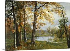 A Quiet Lake (oil on canvas) by Albert Bierstadt