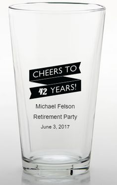 Personalized Pint Glass Retirement Party Favors