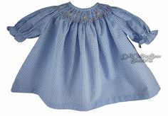 BLUE GINGHAM SMOCKED Dress for BITTY BABY + TWINS Dolls PINK ROSES #Rosalina