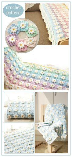 CROCHET Blanket Pattern,flower blanket, Marguerite Daisy Blanket, home decoration blanket, throw blanket #crochet #crocheting #crochetpattern #ad #blanket #afghan #daisy #grannysquare #crafts