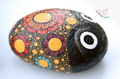 Flowered Bug Rock Painting by WolfArtStudio on Etsy, $20.00