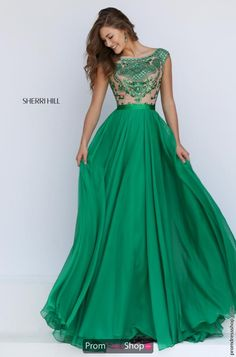 Beautiful chiffon a-line skirt dress style 11332 from Sherri Hill is ideal for your prom. http://www.promdressshop.com/