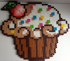 Large Cupcake Perler Bead Figure by shopCreativeOutlet