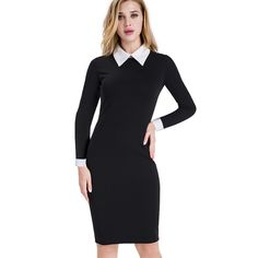 Buy Nice-forever Career Women Autumn Turn-down Collar Fit Work Dress Vintage Elegant Business office Pencil bodycon Midi Dress 751 >>>>Check Link Vestidos Vintage, Vintage Dresses, Casual Dresses, Dresses For Work, Classy Outfits, Cotton Dresses, Bodycon Dress, Clothes For Women, Alibaba Group