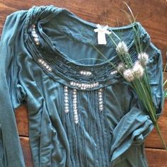 I just added this to my closet on Poshmark: DownEasts Basics Embellished Sage Green Top Medium. Price: $14 Size: M