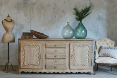 Antique 1880s Belgian Sideboard Patina Bleached O